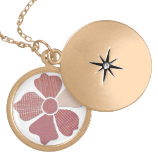 Match Any Color Faux Fabric Collage Flower Locket Necklace