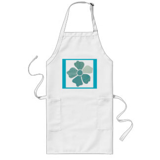 Match Any Color Faux Fabric Collage Flower Long Apron
