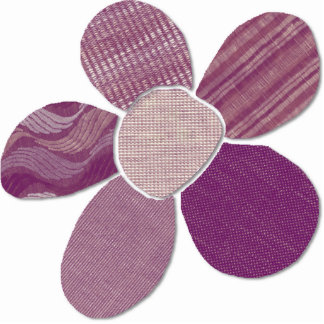 Match Any Color Faux Fabric Collage Flower Statuette