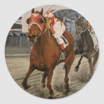 Match Race – Seabiscuit vs. War Admiral Painting Classic Round Sticker