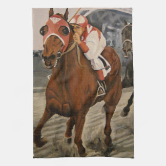 Match Race – Seabiscuit vs. War Admiral Painting Kitchen Towel