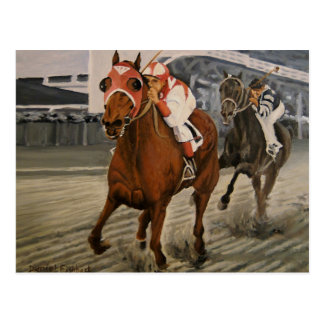 Match Race – Seabiscuit vs War Admiral Painting Postcard