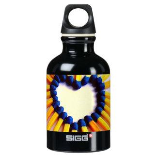 Match Stick Heart Aluminum Water Bottle