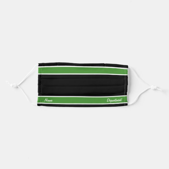 [Match Your Uniform] Black Bright Green Stripes Cloth Face Mask