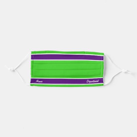 [Match Your Uniform] Bright Green w Purple Stripes Adult Cloth Face Mask