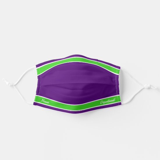 [Match Your Uniform] Purple w Bright Green Stripes Adult Cloth Face Mask