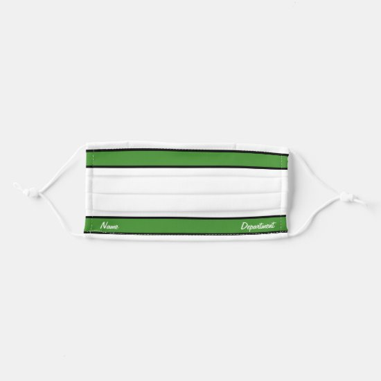 [Match Your Uniform] White Bright Green Stripes Cloth Face Mask