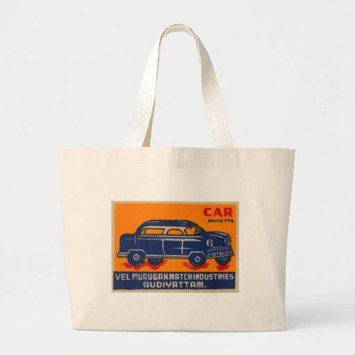 Matchbook 'Car de la India del vintage del kitsch Bolsa De Tela Grande