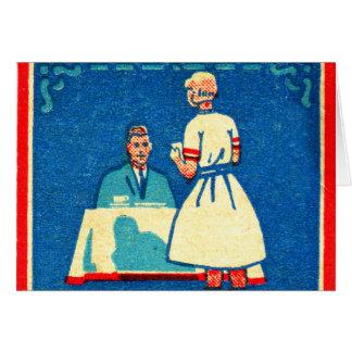 Matchbook de la cocina casera 30s del kitsch del tarjeta de felicitación