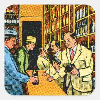 Matchbook de la licorería de los licores del pegatina cuadrada