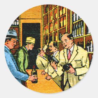 Matchbook de la licorería de los licores del pegatina redonda
