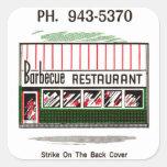 Matchbook del restaurante de barbacoa del vintage  etiquetas