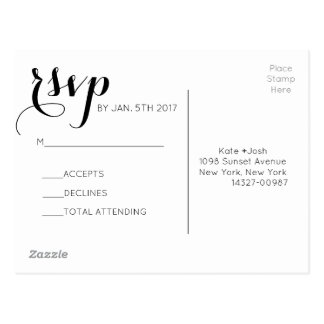 Matching Black and White RSVP Card
