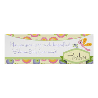 Matching Dragonfly Baby Shower Banner Poster