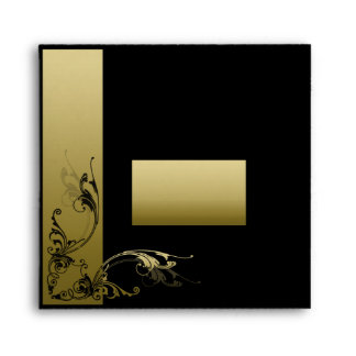 Matching Envelope Black and Gold Effect Swirls