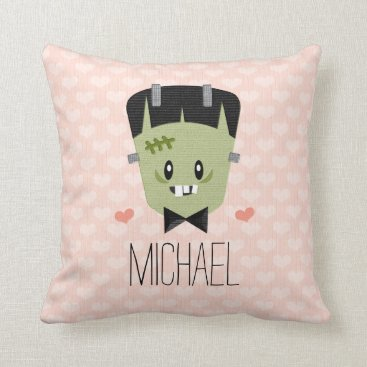 Halloween Themed Matching Groom Frankenstein Monster Couples Throw Pillow