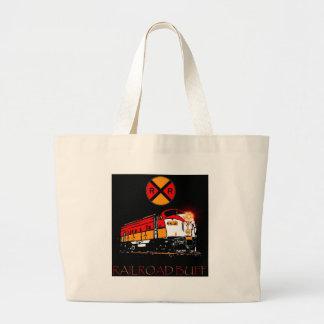Matching Locomotive And Railroad Sign Jumbo Tote Bag