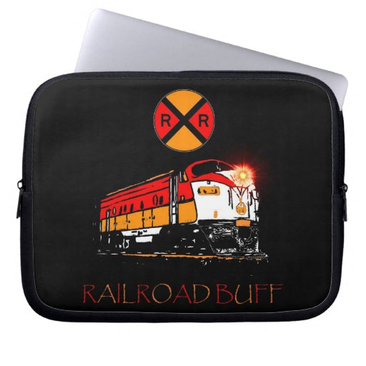 Matching Locomotive And Railroad Sign Laptop Sleeve