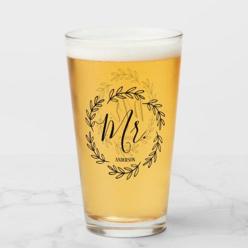Matching Mr. Monogram Wreath Glass