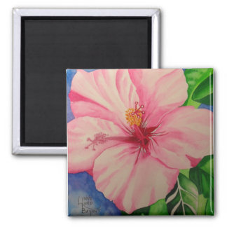 Matching Pink Hibiscus 2 Inch Square Magnet