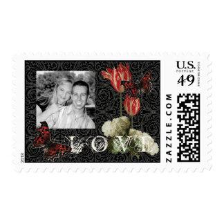 Matching Postage - IBlack n Cream Red Tulip Damask