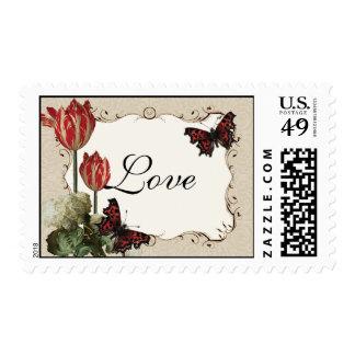 Matching Postage - Tan n Cream Red Tulip Damask