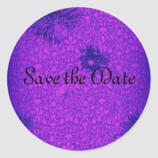 Matching Purple Damask Save the Date Sticker