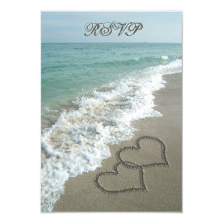 Matching RSVP Card, Two Sand Hearts Beach Wedding 3.5x5 Paper Invitation Card