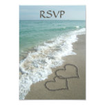 Matching Sand Hearts on the Beach, Romantic Ocean 3.5x5 Paper Invitation Card