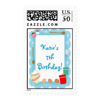Matching Stamp Kid's Cooking Party Invitation