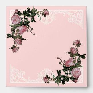 Matching Wedding Envelopes, Trellis Rose Vintage Envelope