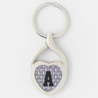 Matchstick Pattern Monogram Silver-Colored Heart-Shaped Metal Keychain