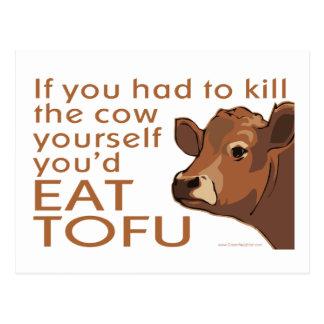 Mate a la vaca - vegano, vegetariano tarjeta postal