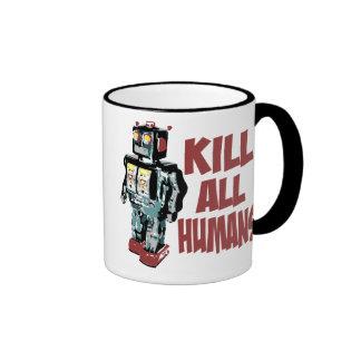 Mate a todos los seres humanos taza a dos colores
