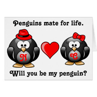 Mate for Life Will You Be My Penguin Proposal Love Greeting Card