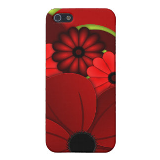 Mate listo del hibisco de la caja floral roja 5S iPhone 5 Carcasa