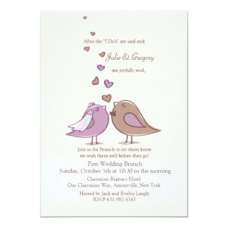 "Mated Post Wedding Lavender Brunch Invitation 5"" X 7"" Invitation Card"