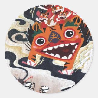 Máteles con risas de Martin Hsu Pegatina Redonda