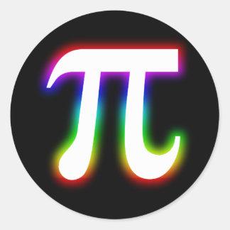 Matemáticas colorida del pi que brilla pegatina redonda