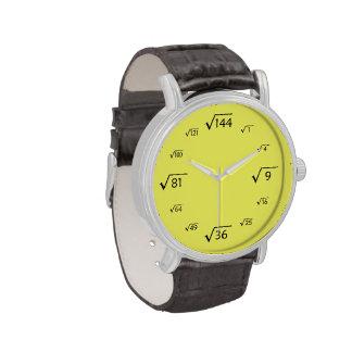 Matemáticas de la raíz cuadrada (negro/amarillo) relojes de mano