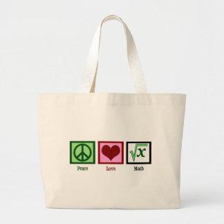 Matemáticas del amor de la paz bolsa tela grande