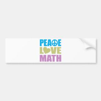 Matemáticas del amor de la paz etiqueta de parachoque