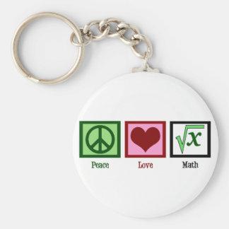Matemáticas del amor de la paz llavero redondo tipo pin