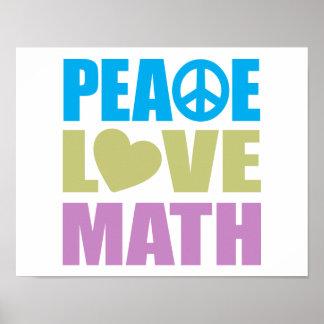 Matemáticas del amor de la paz posters