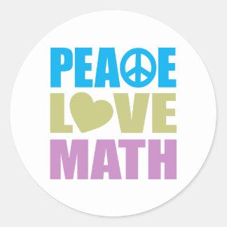 Matemáticas del amor de la paz etiqueta redonda