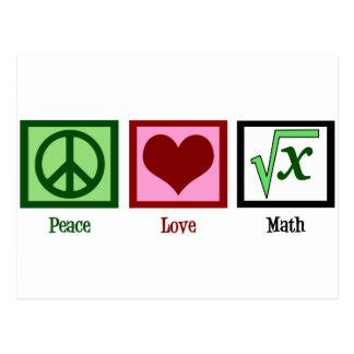Matemáticas del amor de la paz postales