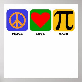 Matemáticas del amor de la paz póster