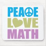 Matemáticas del amor de la paz tapetes de ratón