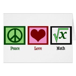 Matemáticas del amor de la paz tarjeta de felicitación