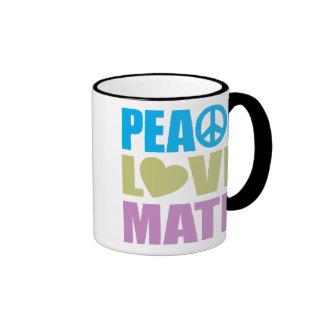 Matemáticas del amor de la paz taza de dos colores